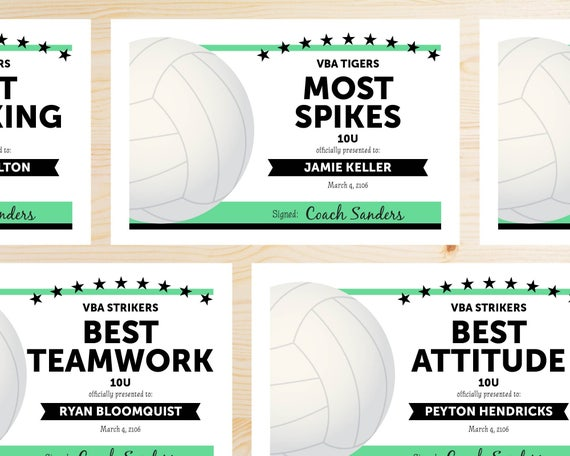 Editable volleyball award certificates instant download editable volleyball award certificates instant download printable black and mint green yelopaper Image collections