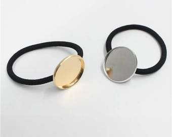 10Pcs Hair Elastic Ring w/ 20mm/25mm KC Gold and White K Round Metal Base,Cabochons,Ponytail Holder,Hair Ties,For DIY Hair Accessories.