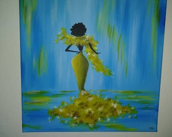 Painting acrylic, beautiful canvas art, ready to hang, made to order. Free shipping