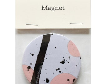 "Magnet by Fiona Hamilton - One Off, Paint, Pattern, Splash, Splodge, Foil, 2.25"", Black, Purple, Pink"