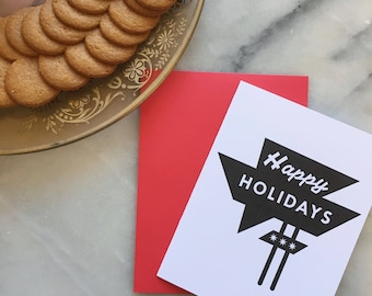 Happy Holidays Letterpress Neon Sign, Single Card