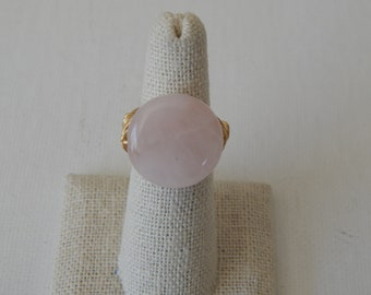 Gold wire wrapped rose quartz ring, boho style, everyday ring, festival chic jewelry, gold wire, neutral, coin shape ring