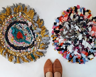 upcycled Fabric Shag Circle Cushion Set of TWO
