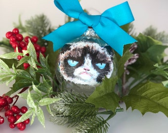 Hand Painted Pet Portrait Ornament (Grumpy Cat or yours!)