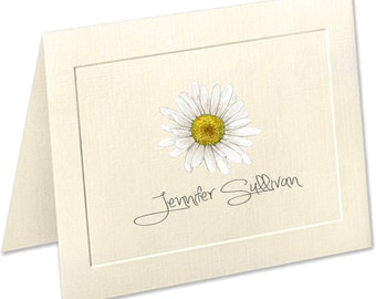 Daisy Stationery, Embossed panel personalized stationery, personalized linen note cards, daisy note cards, thank you cards, notecards