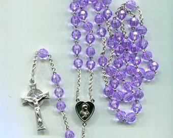 February's birthstone amethyst 5 decade chain rosary