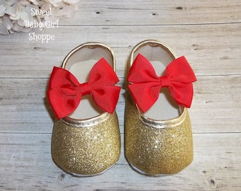 Red and Gold Christmas Outfit - Gold Baby Shoes with Red Bows - My First Christmas - Baby Girl Christmas Shoes - My 1st Christmas
