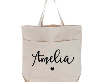 Personalized Name Canvas Tote Bag with Pockets, Calligraphy Name with Heart, Large Bag, Bride Gift, Bridesmaid Gift, Custom Utility Tote