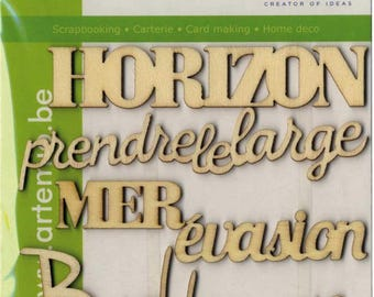 Silhouette blank wooden - Pure words - 5 pcs ARTEMIO COLLECTION sea ISLAND