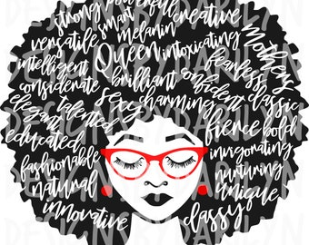 Afro lady with words SVG/DXF/PDF