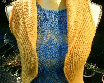 Vest, Sun yellow, with flowers motif, Gr. 36-38 (S-m)