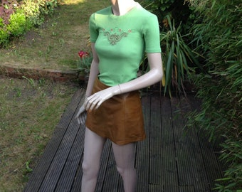 ORIGINAL 60s 70s sweet apple green embroidered woven t shirt XS S uk 6 8