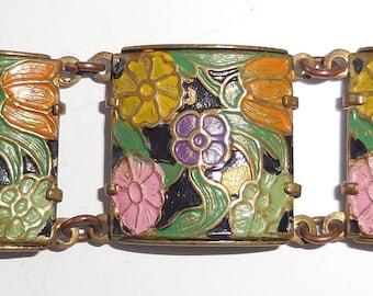Beautiful ART DECO Floral Antique BRACELET, Enamel Flower Panel Bracelet, Stunning Vintage Jewellery, 6 3/4 inches, Gorgeous Gift!