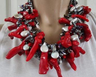 Impressive Genuine Pearl Coral Branch & Crystal Massive Runway Necklace