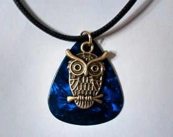 HANDMADE UPCYCLED NECKLACE, necklace, made from Fender guitar pick with owl charm, jewelry, accessories, music, musician, geekery,repurposed