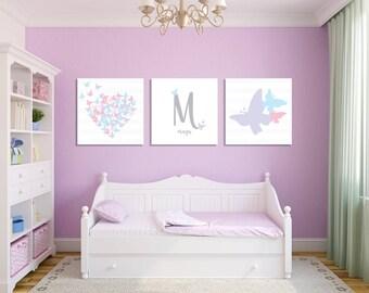 Butterfly Girl's Room Wall Art, Butterfly Nursery, Heart Nursery Art, Butterfly Nursery Decor, Butterfly Canvas Prints, Butterfly Heart