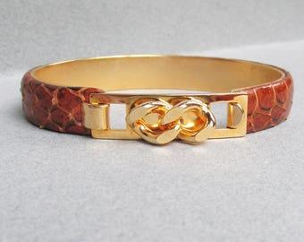 1970's MOD Vintage Brown Snake Skin Snap Top Cuff Bracelet