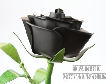 Metal Long Stem Black Rose, Goth Gift, Goth Rose, Metal Flower, Black Flower, Steel Rose, Steel Flower, Forever Rose, Large Rose