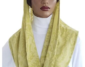 Kaatnu Veil™ Veil Green Cotton Knit Veil Liturgical Veil Devotional Veil Christian Veil Catholic Headcovering Chapel Veil Mass Veil Handmade