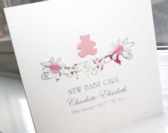 Personalised Handmade New Baby Girl Bunting Flags Pink Teddy Bear Card by Charlotte Elisabeth NB005