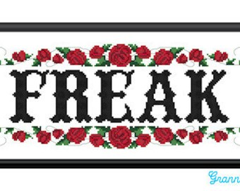 Freak counted cross stitch sampler PDF pattern 10X13