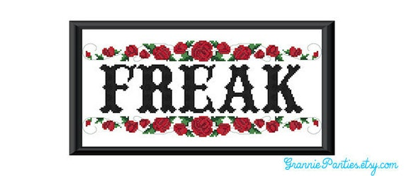 Freak counted cross stitch sampler PDF pattern 10X13