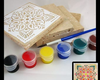 DIY Craft Kit - DIY Coasters - Make Your Own Tile Coaster Set (4) - Choose Your Designs - Customizable - Fun Summer DIY Craft or Gift Idea