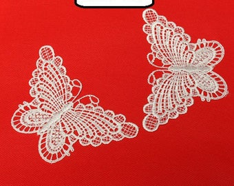 Butterfly lace guipure white Littles 12.5CMX7.5CM