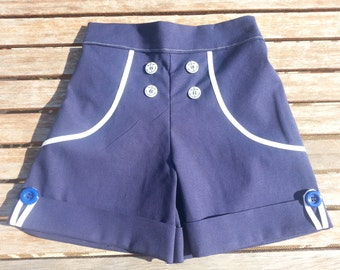 Girls Navy Blue and White Sailor Shorts