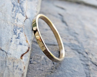 2mm Hammered Gold Wedding Band - Solid 14k Yellow or Rose Gold Ring in Matte or High Polish Finish - Thin Flat Band