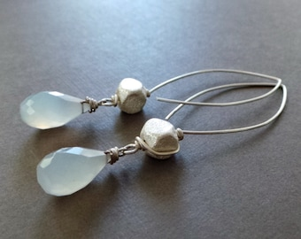 Cloudy Sky Chalcedony Sterling Earrings Organic Jewelry - SALE