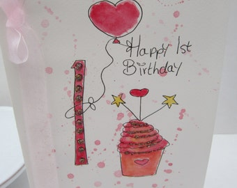 Butterfly birthday card happy birthday wish daughter first birthday card watercolour card first birthday daughter 1st birthday niece 1st bookmarktalkfo Image collections