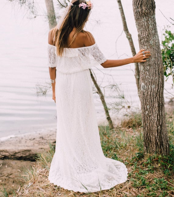 50% Deposit, Divine Flutter Sleeve Bridal dress with small train, Bohemian beach wedding dress