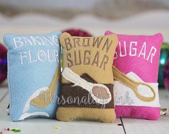 Pretend baking set - Make Believe baking set - Felt food - Make believe - Sugar - Brown Sugar - Flour