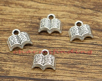 50pcs Mini Book Charms Reading Charm Antique Silver Tone 12x11mm cf0511