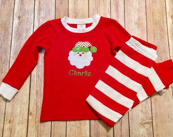 Red and white striped personalized Christmas pajamas, Machine embroidered, Winter pajamas, Children's personalized, Matching family