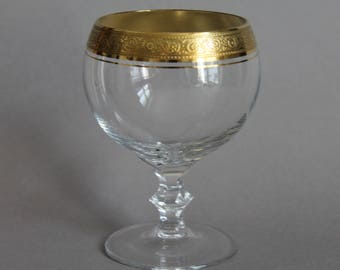 Theresienthal Bernadotte Burgundy Wine Glass Ornamentally Textured Gold Rim Mintonborte