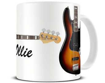 Personalized Jazz Bass Guitar Coffee Mug - gift for dad - father's day mug - bass guitar mug - MG211