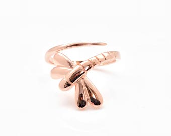 Wraparound Dragonfly Ring // 925 Sterling Silver with Rose Gold Plating // Hand Cast // Dragonfly Ring