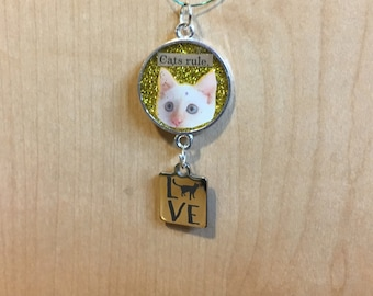 """New Style, Cats Rule, Cat Love """"Charmers"""" Pendant, Peeking White Cat Pendant, 50% of the proceeds goes to the current focus charity"""