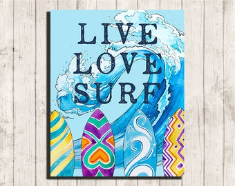 surfer printable wall art Live Love Surf quote beach home decor instant download 8 x 10 waves print