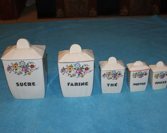 French Ceramic 5 piece Canister Set, Vintage 40s REDUCED PRICE