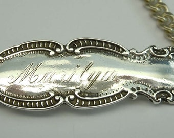Fancy Sterling Silver Marilyn Name Tag Bracelet with C Scrolling