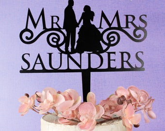 WOODEN CAKE TOPPER Wedding Mr And Mrs Couple Cake Topper Wedding Birthday