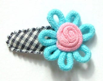 Baby Girl Hair Clip with Cotton Flower on Gray French Vichy - No Slip Grib for Fine Hair