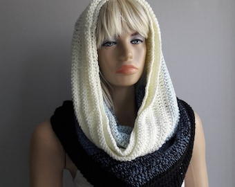 Happiness - Crochet Cowl / Hooded Cowl / Big Cowl / Soft Cowl /  Crochet Scarf / Hand Knitted Cowl / Double Edges / Multicolor Cowl