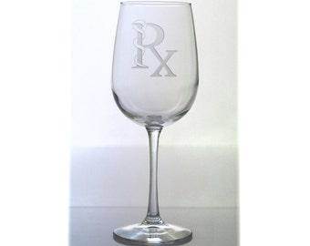 Pharmacist Wine Glass / Free Personalization / Rx Wine Glass / Gift for Pharmacy Graduate / Personalized Gift / Personalized Glass