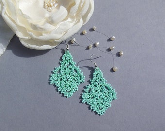 Mint tatting lace earrings, tatted lace jewelry, tatted beaded earrings, mint lace earrings, victorian jewelry, stylish jewelry, gift idea.