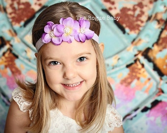 Lavender Headband  - Rhinestone Headband - Hydrangea Petal - Crown - Glitter -  Light Purple - Lilac - Baby  - Flower Girl - Lavender Orchid