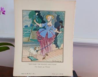 Antique French Print, Fashion Pochoir, La Gazette de Bon Ton, 1913, Shepherdess by P. Brissaud, French Fashion, Hand-painted, Birthday Gift